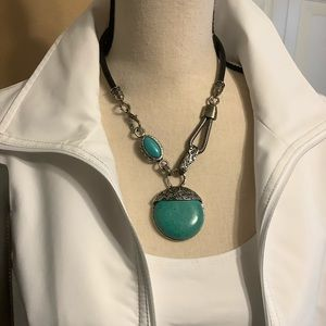 Turquoise Antique Inspired Necklace & Leather Cord
